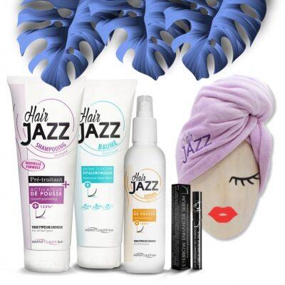 MUST MÜÜK! HAIR JAZZ šampoon + lotion + palsam + kulmude kasvu soodustav seerum + Turban